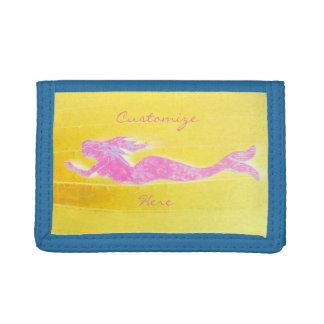 underwater pink mermaid swimming tri-fold wallets