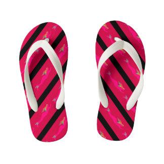 underwater pink mermaids striped kid's flip flops