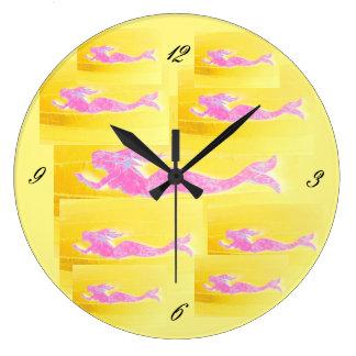 underwater pink mermaids swimming large clock