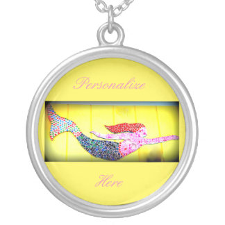 underwater pink mosaic mermaid swimming silver plated necklace