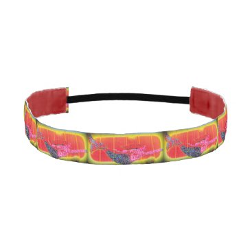 Beach Themed underwater pink mosaic mermaids yellow/orange athletic headband
