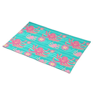 Underwater Pink Octopus Pattern American MoJo Plac Placemat