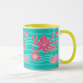Underwater Pink Octopus Pattern Mug