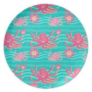 Underwater Pink Octopus Pattern Plate