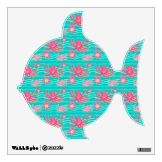 Underwater Pink Octopus Pattern Wall Stickers