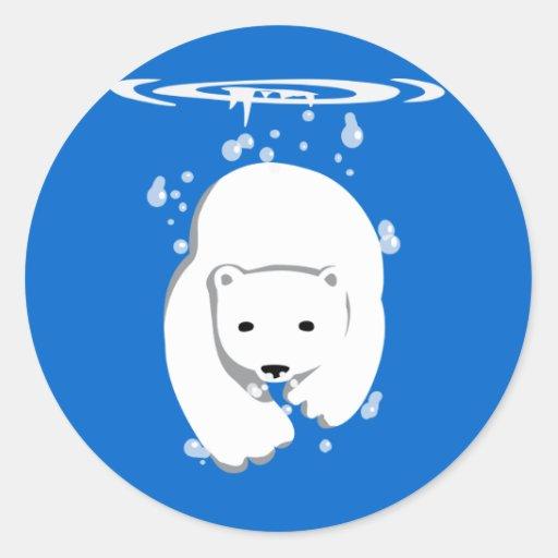 Underwater Polar Bear Round Sticker
