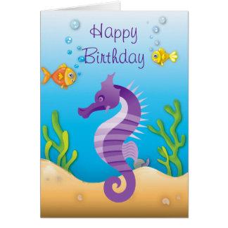 Underwater Purple Seahorse Birthday Card