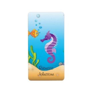 Underwater Purple Seahorse Labels label