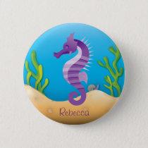 Underwater Purple Seahorse Pinback Button