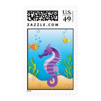 Underwater Purple Seahorse Postage Stamps
