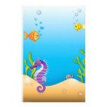 Underwater Purple Seahorse Stationery