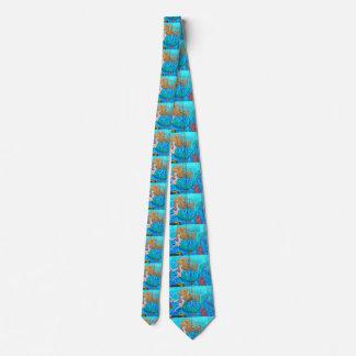 underwater redheaded mermaid blue neck tie