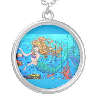 underwater redheaded mermaid silver plated necklace