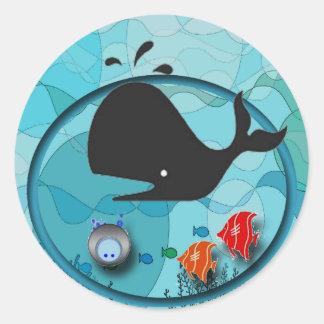Underwater Scene Classic Round Sticker