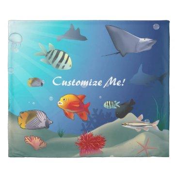 USA Themed Underwater Scene Duvet Cover