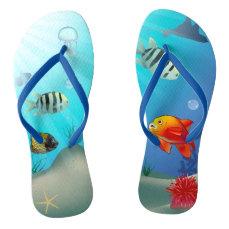Underwater scene flip flops