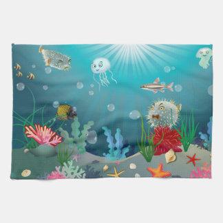 Underwater scene hand towel