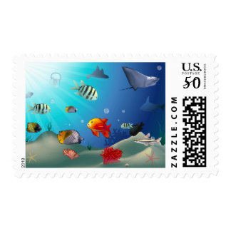 Underwater Scene Illustration Postage