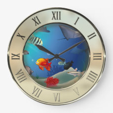 Underwater scene large clock
