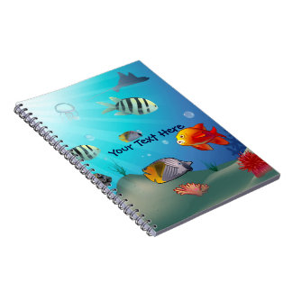 Underwater scene spiral notebook
