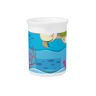 Underwater scene with turtle and fish beverage pitcher