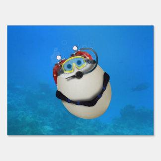 Underwater SCUBA Eggventure Lawn Signs