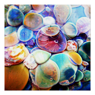 Underwater Sea Stones Lampwork Boro Glass Print