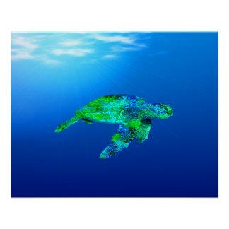 Underwater Sea Turtle Perfect Poster