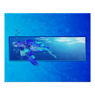 Underwater Sea Turtle Poster