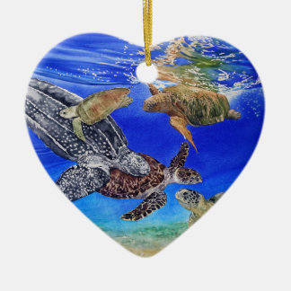 Underwater Sea Turtles Art Endangered Species Christmas Tree Ornament