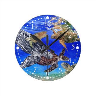 Underwater Sea Turtles Art Endangered Species Round Clock