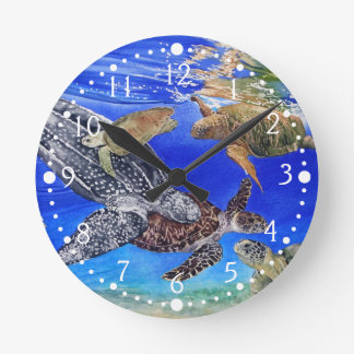 Underwater Sea Turtles Art Endangered Species Round Clock