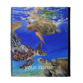 Underwater Sea Turtles Art Personalized iPad Folio iPad Cases