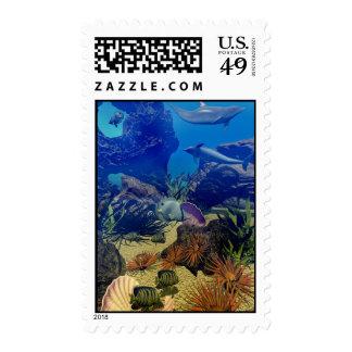 Underwater Sealife -Stamp, Dolphins, Aquatic