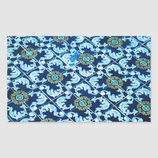 Underwater Spanish Tile Rectangular Sticker