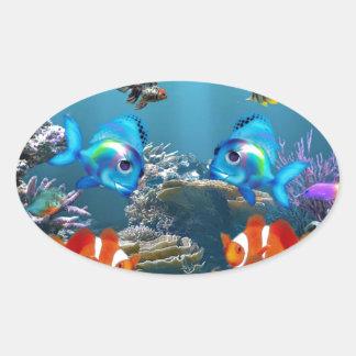 Underwater Oval Stickers