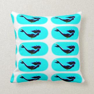 underwater swimming mermaids throw pillow