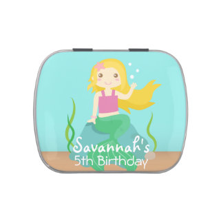 Underwater Theme Birthday, Cute Mermaid Party Tag Jelly Belly Candy Tins