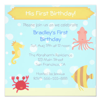 Underwater theme Birthday Invite
