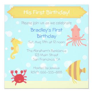 """Underwater theme Birthday Invite 5.25"""" Square Invitation Card"""