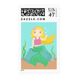 Underwater Theme Birthday Party, Cute Mermaid Postage Stamp
