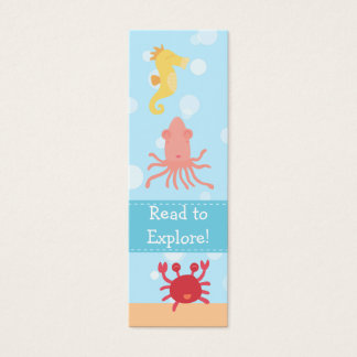 Underwater theme with sea creatures tiny bookmark mini business card
