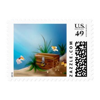 Underwater Treasure and Fish Stamp