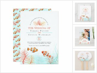 Underwater tropical coral fish art wedding
