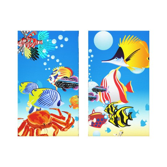 Underwater Tropical Fish Fantasy Custom 2-Panel Canvas Print