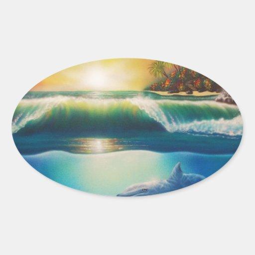 Underwater Wonderland.jpg Oval Sticker