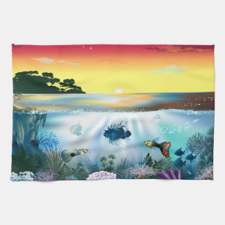 Underwater world, fish & marine life Kitchen Towel