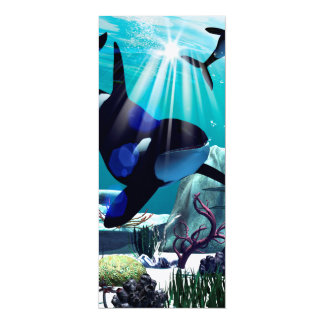"""Underwater world 4"""" x 9.25"""" invitation card"""