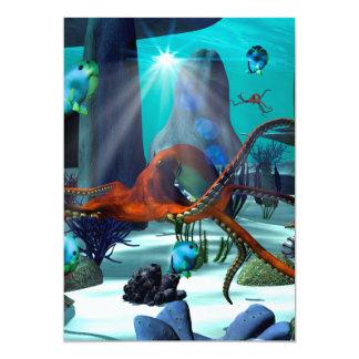 """Underwater world 5"""" x 7"""" invitation card"""