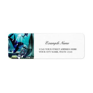 Underwater world return address label